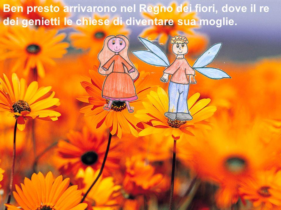 Ben presto arrivarono nel Regno dei fiori, dove il re dei genietti le chiese di diventare sua moglie.