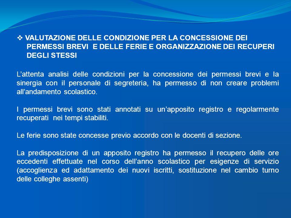 VALUTAZIONE DELLE CONDIZIONE PER LA CONCESSIONE DEI