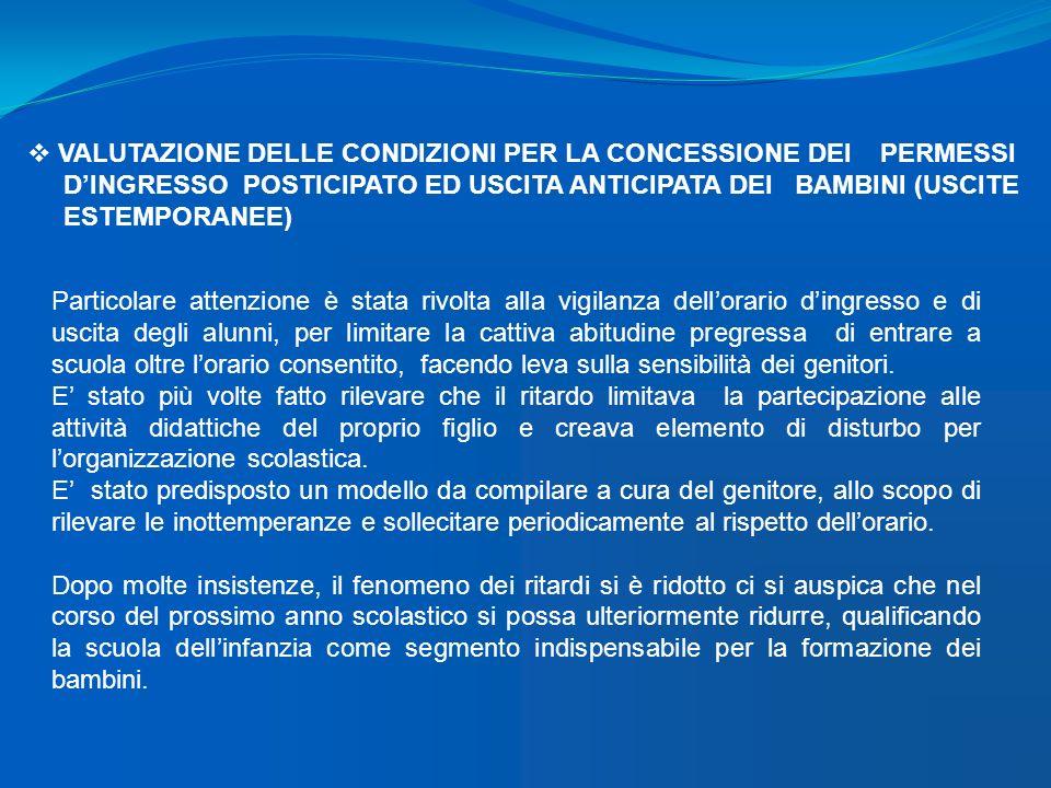 VALUTAZIONE DELLE CONDIZIONI PER LA CONCESSIONE DEI PERMESSI