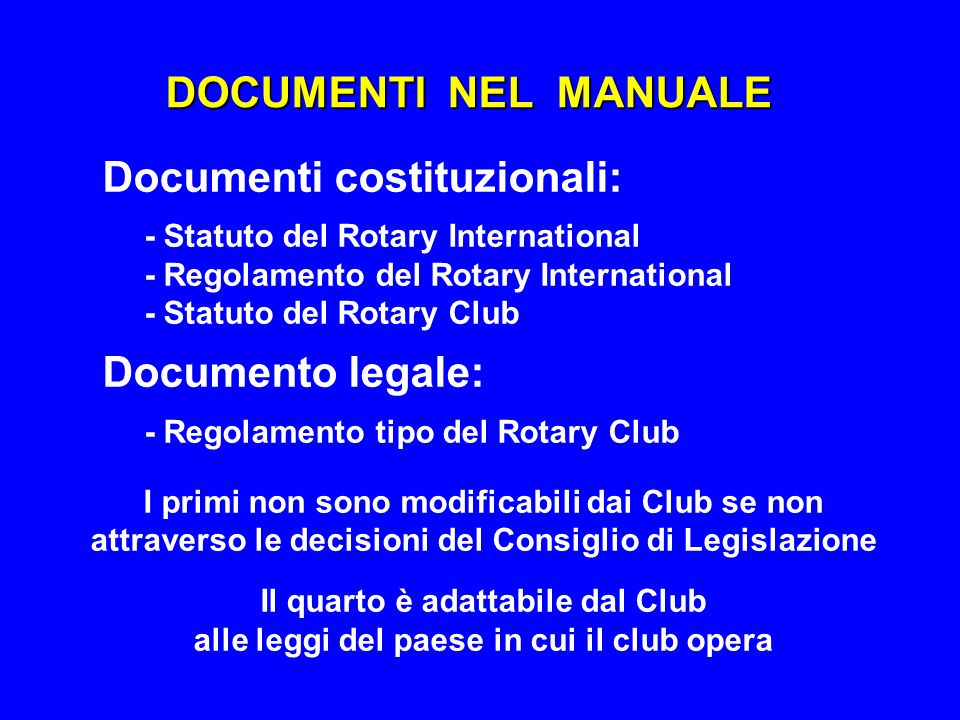 DOCUMENTI NEL MANUALE - Regolamento del Rotary International