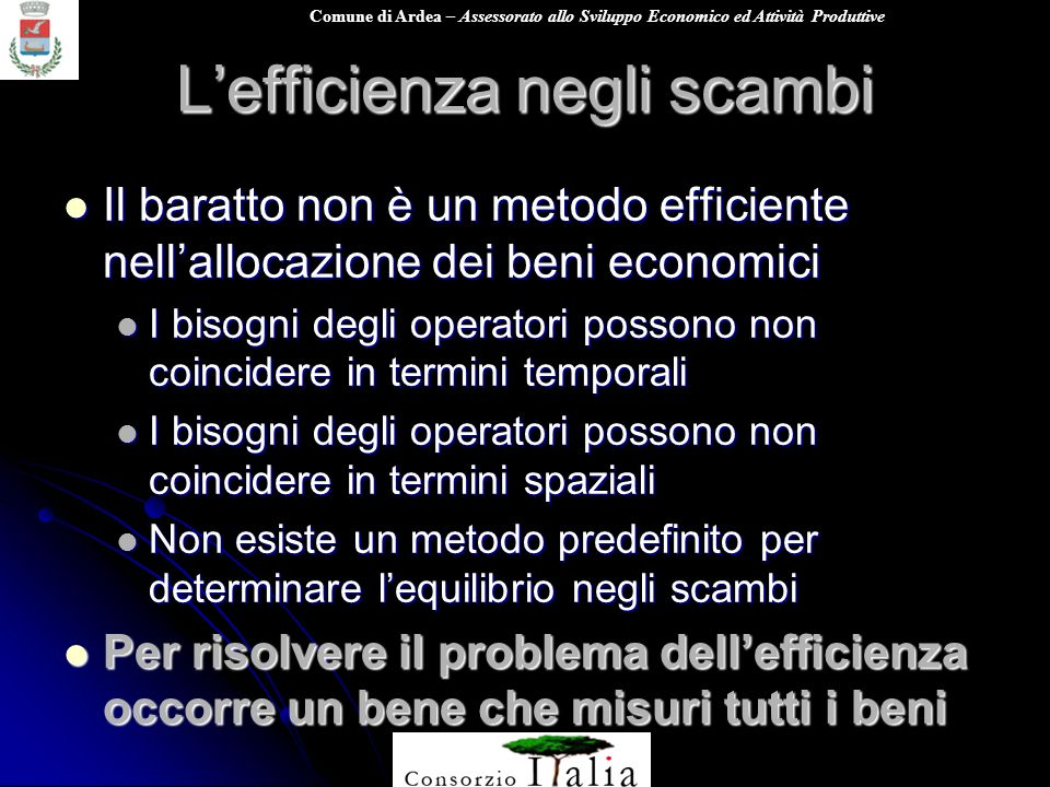 L'efficienza negli scambi