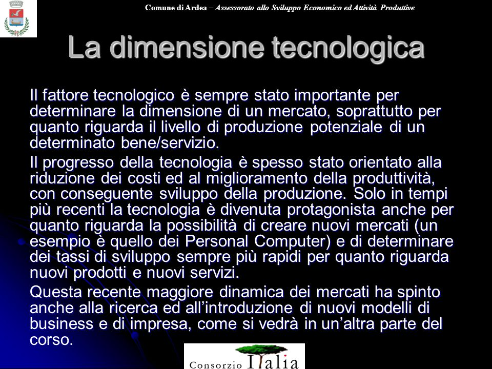 La dimensione tecnologica
