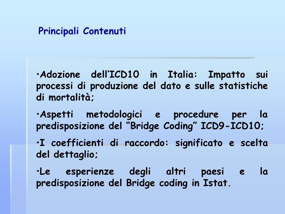 Principali Contenuti Adozione dell'ICD10 in Italia: Impatto sui processi di produzione del dato e sulle statistiche di mortalità;