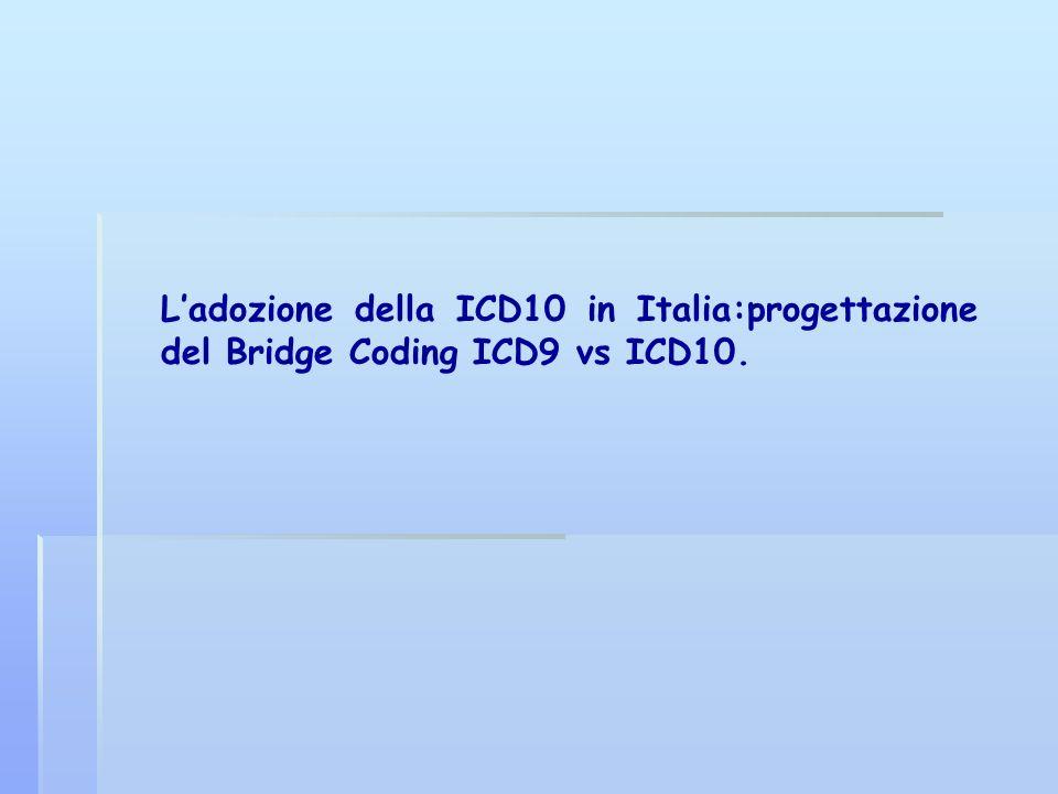L'adozione della ICD10 in Italia:progettazione del Bridge Coding ICD9 vs ICD10.