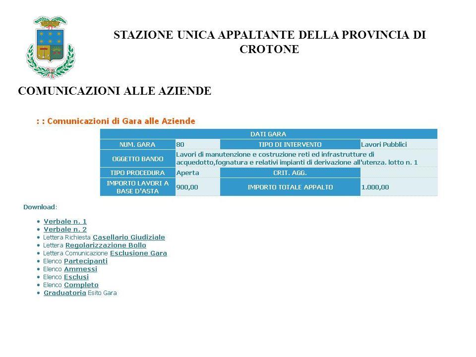 STAZIONE UNICA APPALTANTE DELLA PROVINCIA DI CROTONE