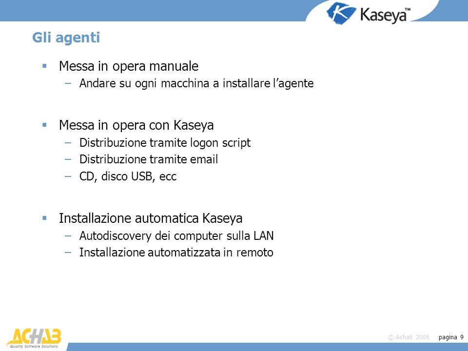 Gli agenti Messa in opera manuale Messa in opera con Kaseya