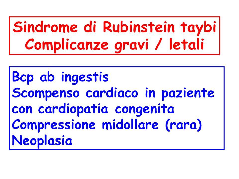 Sindrome di Rubinstein taybi Complicanze gravi / letali