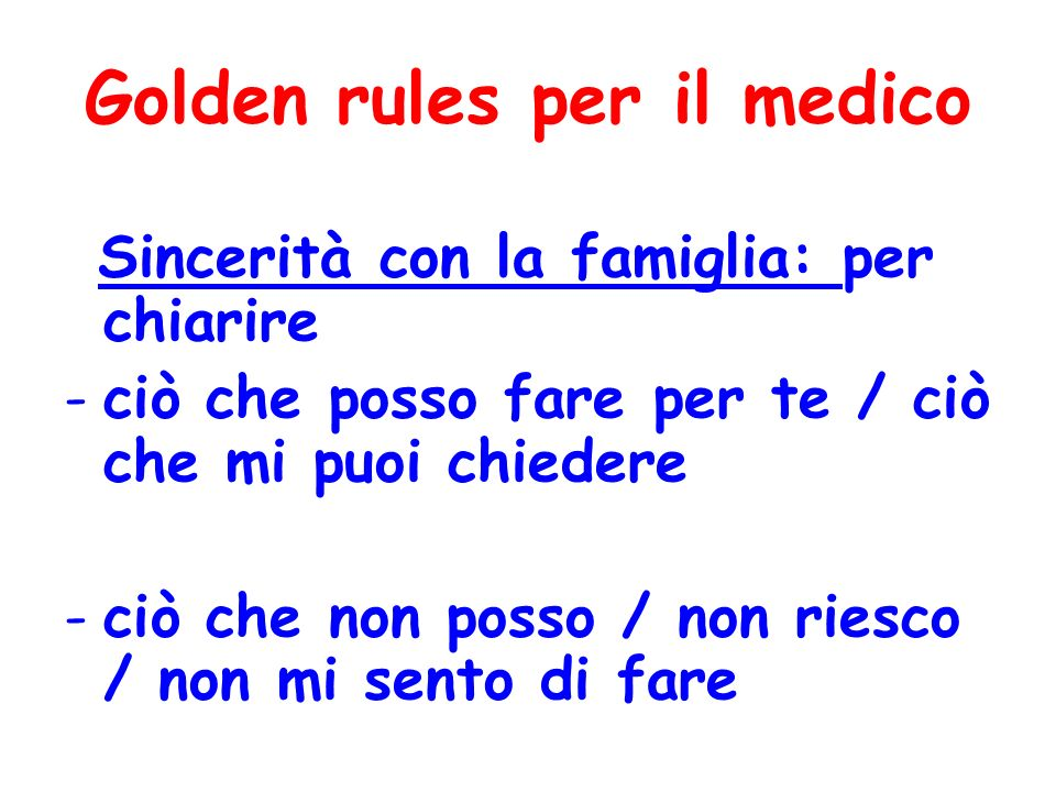 Golden rules per il medico