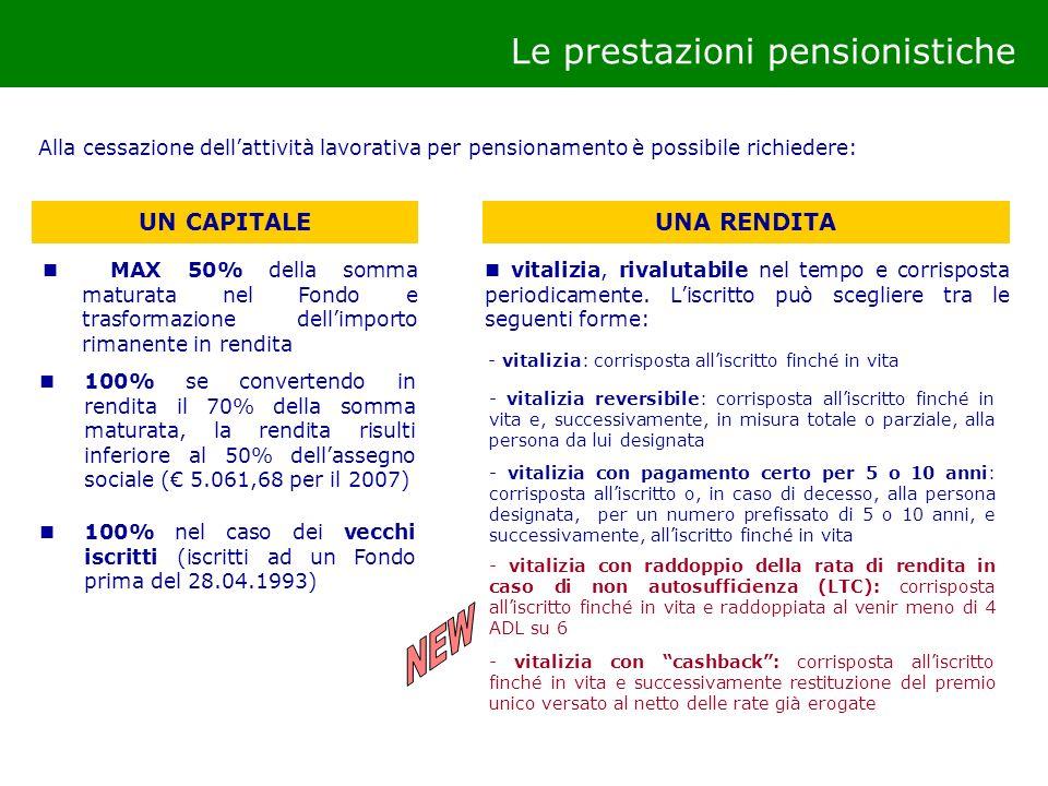 NEW Le prestazioni pensionistiche UN CAPITALE UNA RENDITA
