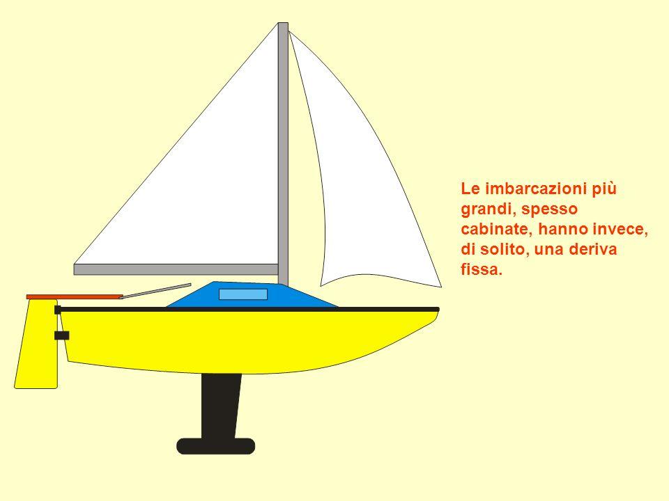 Le imbarcazioni più grandi, spesso cabinate, hanno invece, di solito, una deriva fissa.