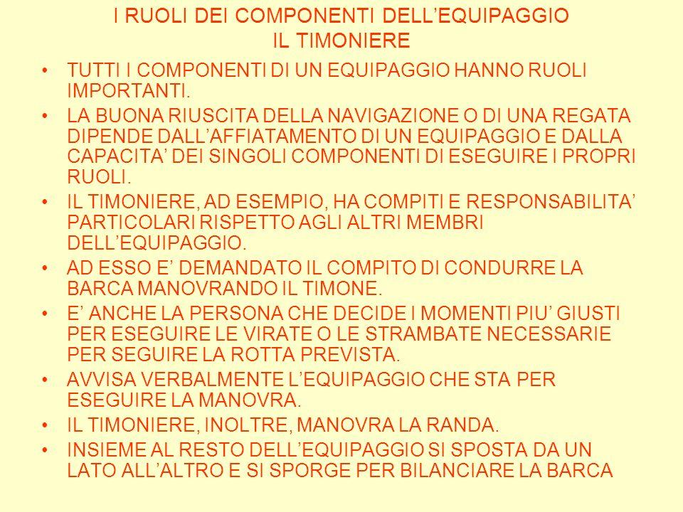 I RUOLI DEI COMPONENTI DELL'EQUIPAGGIO IL TIMONIERE