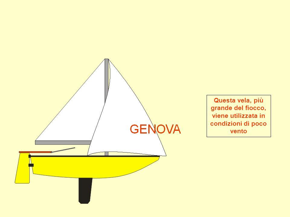Questa vela, più grande del fiocco, viene utilizzata in condizioni di poco vento
