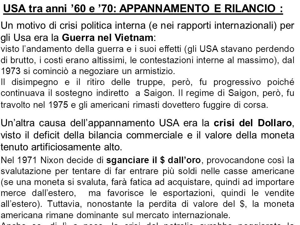 USA tra anni '60 e '70: APPANNAMENTO E RILANCIO :
