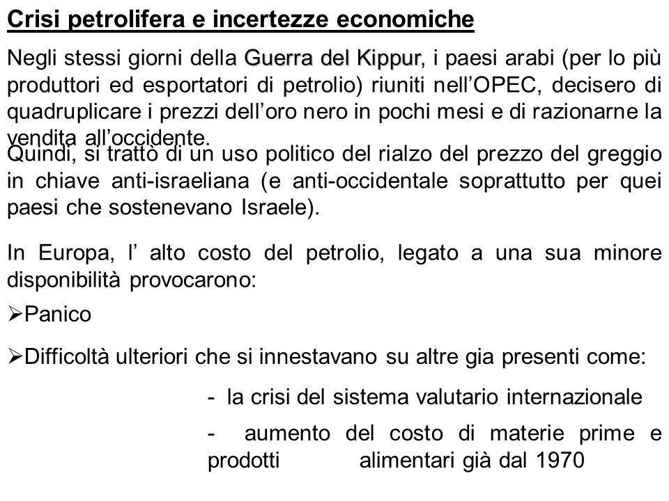 Crisi petrolifera e incertezze economiche