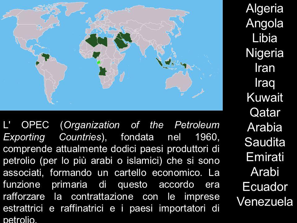 Algeria Angola Libia Nigeria Iran Iraq Kuwait Qatar Arabia Saudita