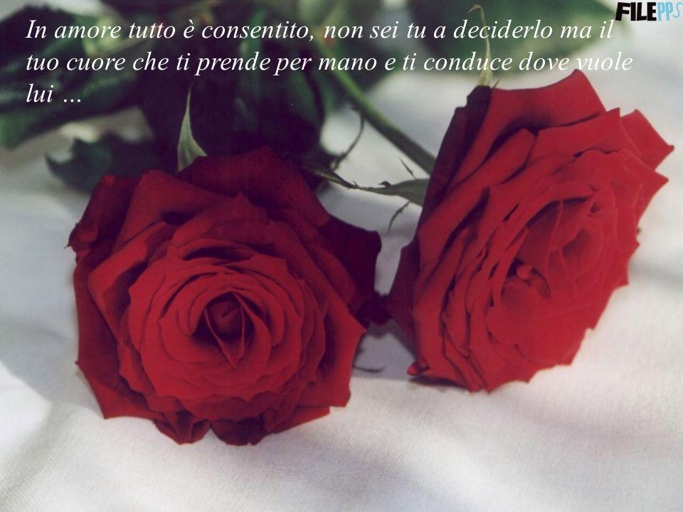 In amore tutto è consentito, non sei tu a deciderlo ma il tuo cuore che ti prende per mano e ti conduce dove vuole lui …