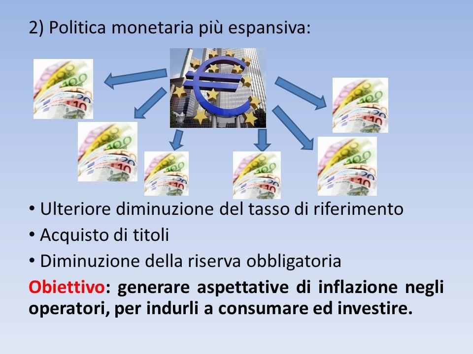 2) Politica monetaria più espansiva: