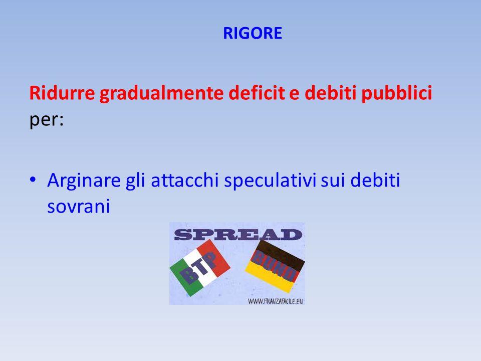 Ridurre gradualmente deficit e debiti pubblici per: