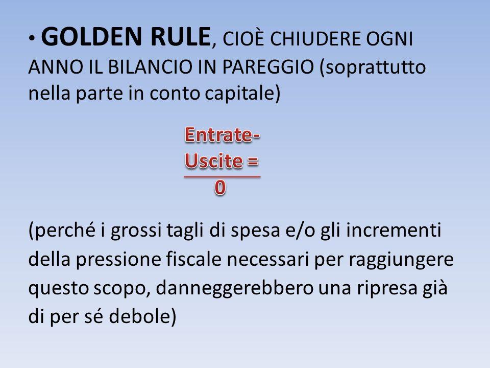 GOLDEN RULE, CIOÈ CHIUDERE OGNI ANNO IL BILANCIO IN PAREGGIO (soprattutto nella parte in conto capitale)