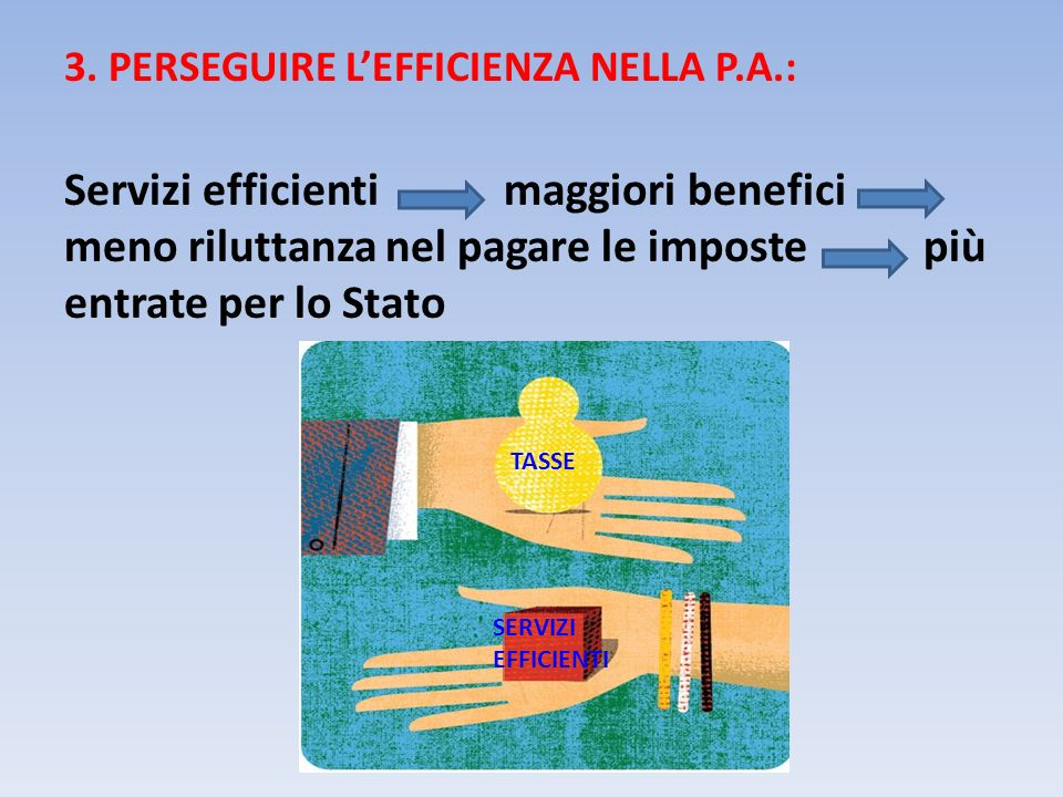 3. PERSEGUIRE L'EFFICIENZA NELLA P.A.: