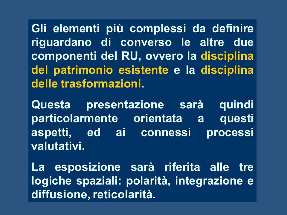 Gli elementi più complessi da definire riguardano di converso le altre due componenti del RU, ovvero la disciplina del patrimonio esistente e la disciplina delle trasformazioni.