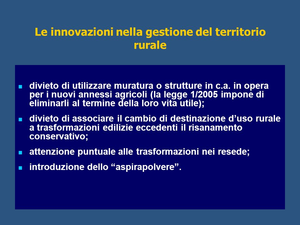 Le innovazioni nella gestione del territorio rurale