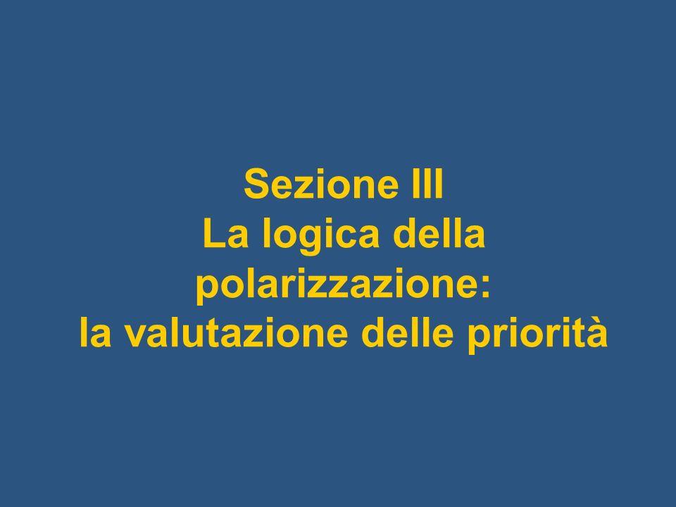 Sezione III La logica della polarizzazione: la valutazione delle priorità