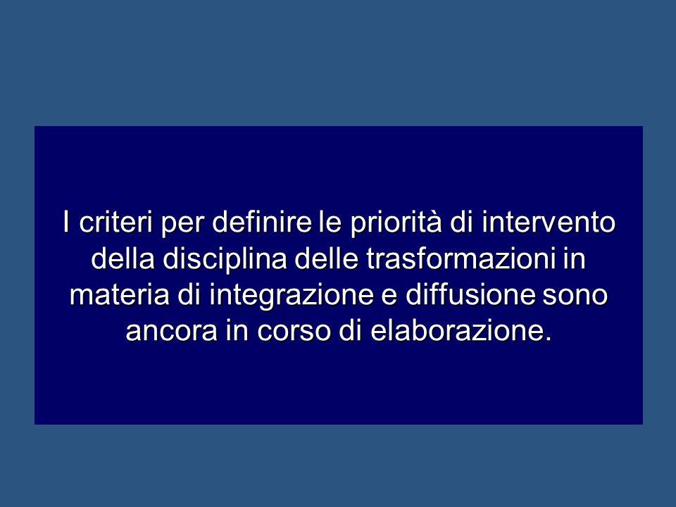 I criteri per definire le priorità di intervento della disciplina delle trasformazioni in materia di integrazione e diffusione sono ancora in corso di elaborazione.