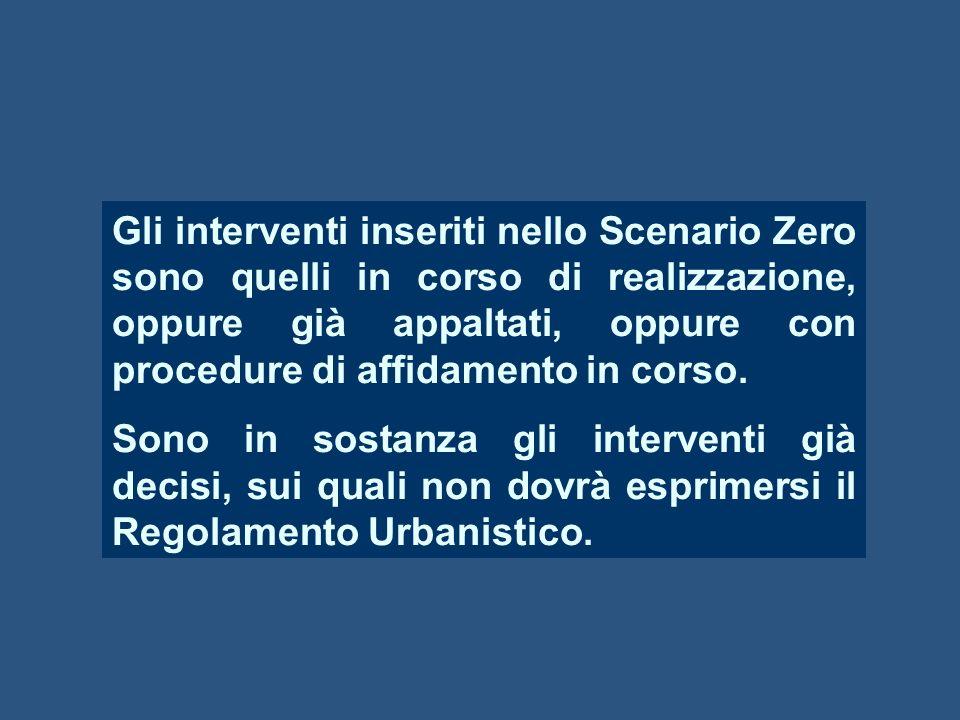 Gli interventi inseriti nello Scenario Zero sono quelli in corso di realizzazione, oppure già appaltati, oppure con procedure di affidamento in corso.