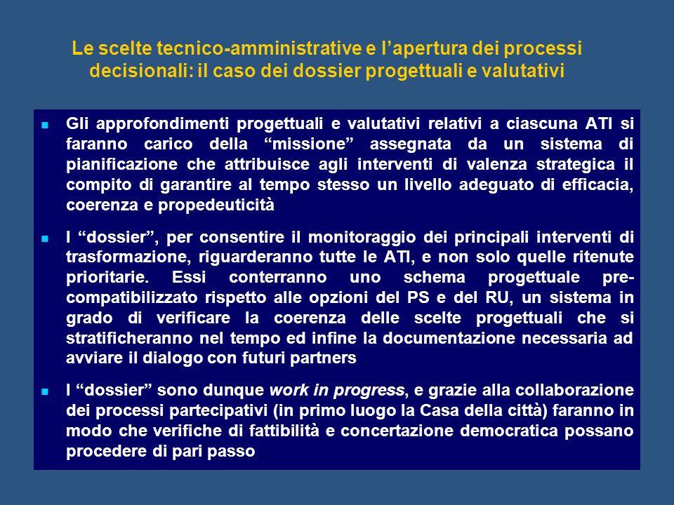 Le scelte tecnico-amministrative e l'apertura dei processi decisionali: il caso dei dossier progettuali e valutativi
