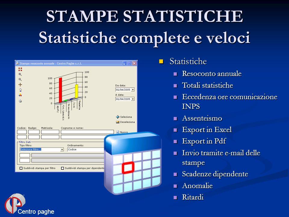 STAMPE STATISTICHE Statistiche complete e veloci