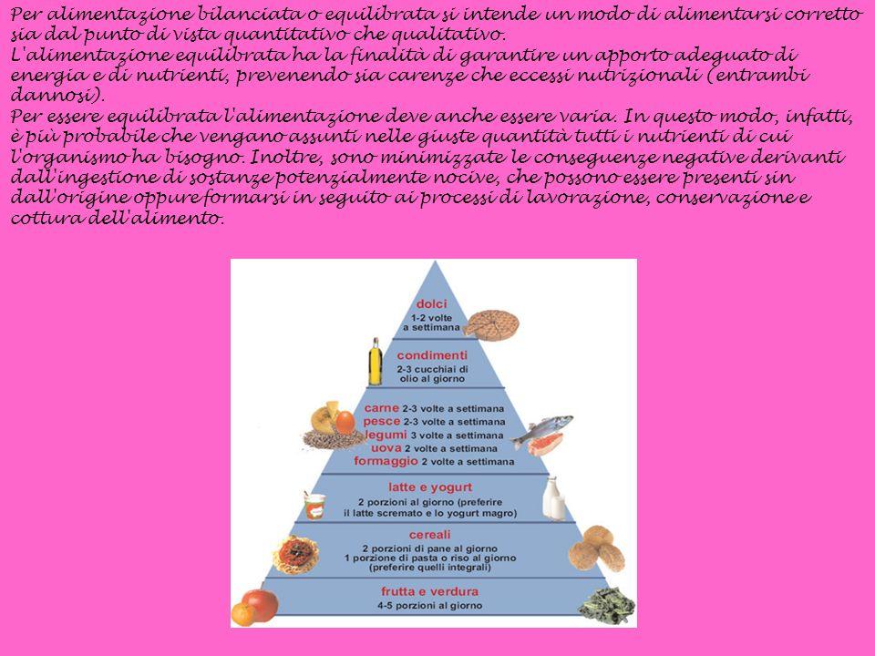 Per alimentazione bilanciata o equilibrata si intende un modo di alimentarsi corretto sia dal punto di vista quantitativo che qualitativo.