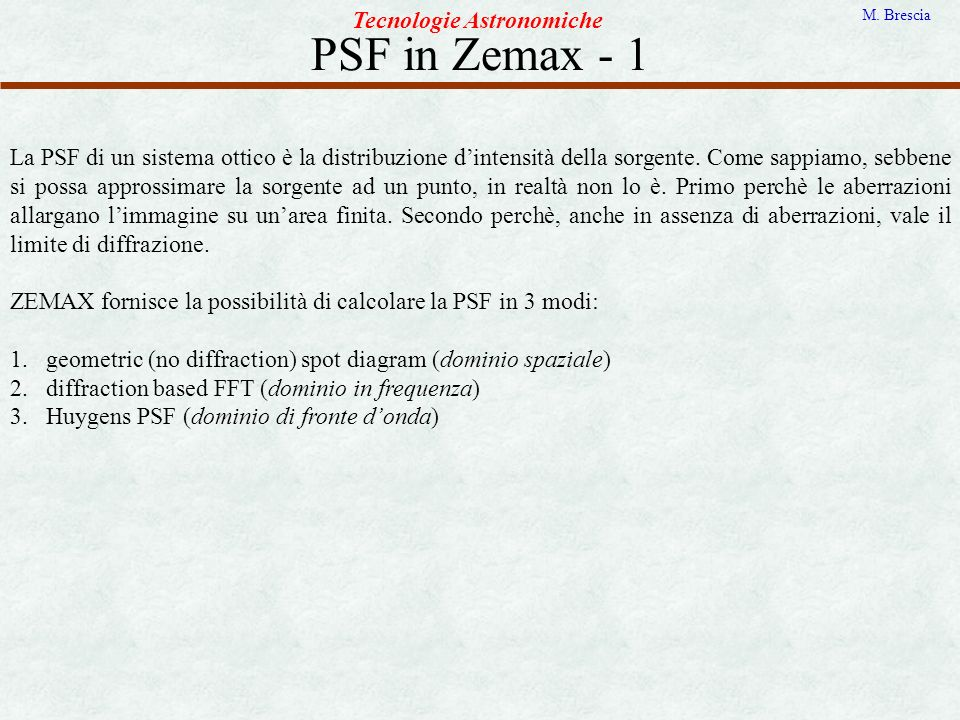 PSF in Zemax - 1 Tecnologie Astronomiche