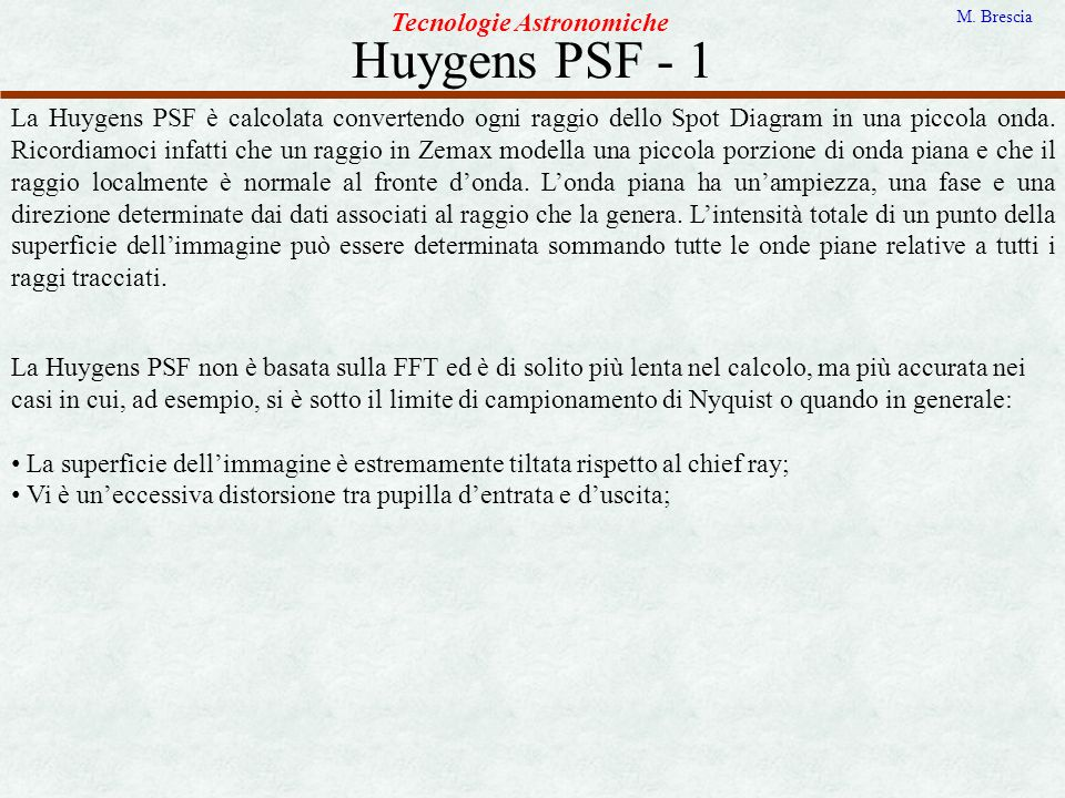 Huygens PSF - 1 Tecnologie Astronomiche