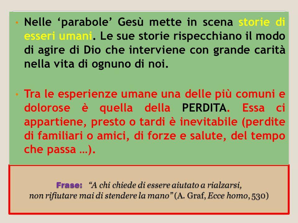 Nelle 'parabole' Gesù mette in scena storie di esseri umani