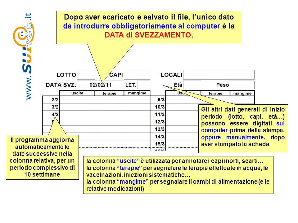Dopo aver scaricato e salvato il file, l'unico dato da introdurre obbligatoriamente al computer è la DATA di SVEZZAMENTO.