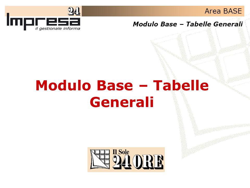 Modulo Base – Tabelle Generali
