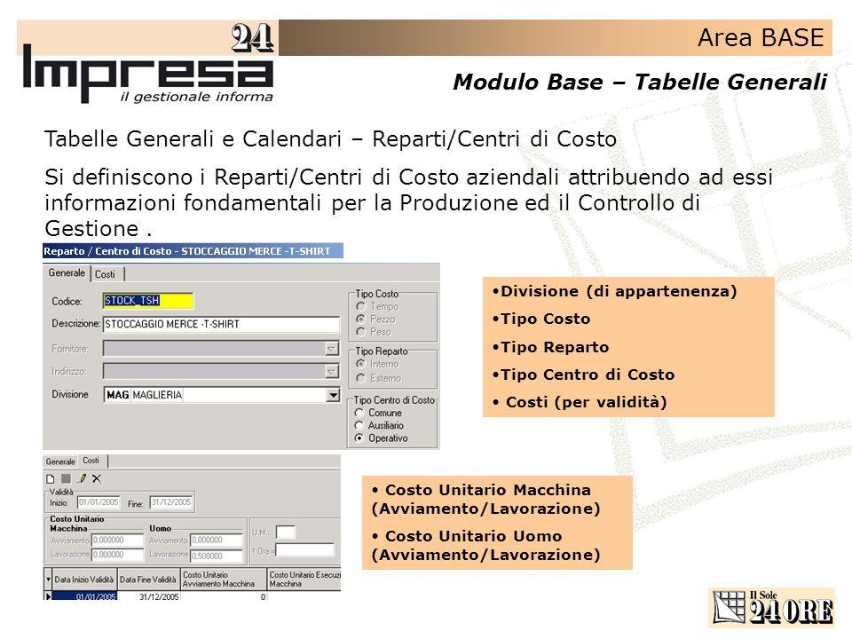 Tabelle Generali e Calendari – Reparti/Centri di Costo