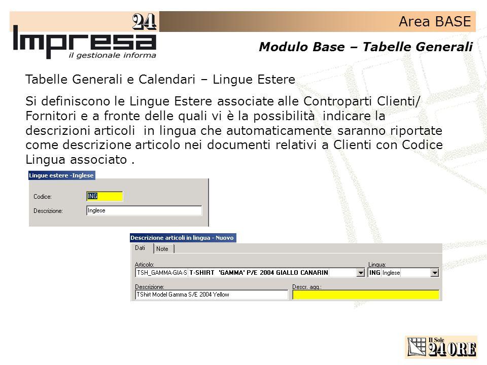 Tabelle Generali e Calendari – Lingue Estere