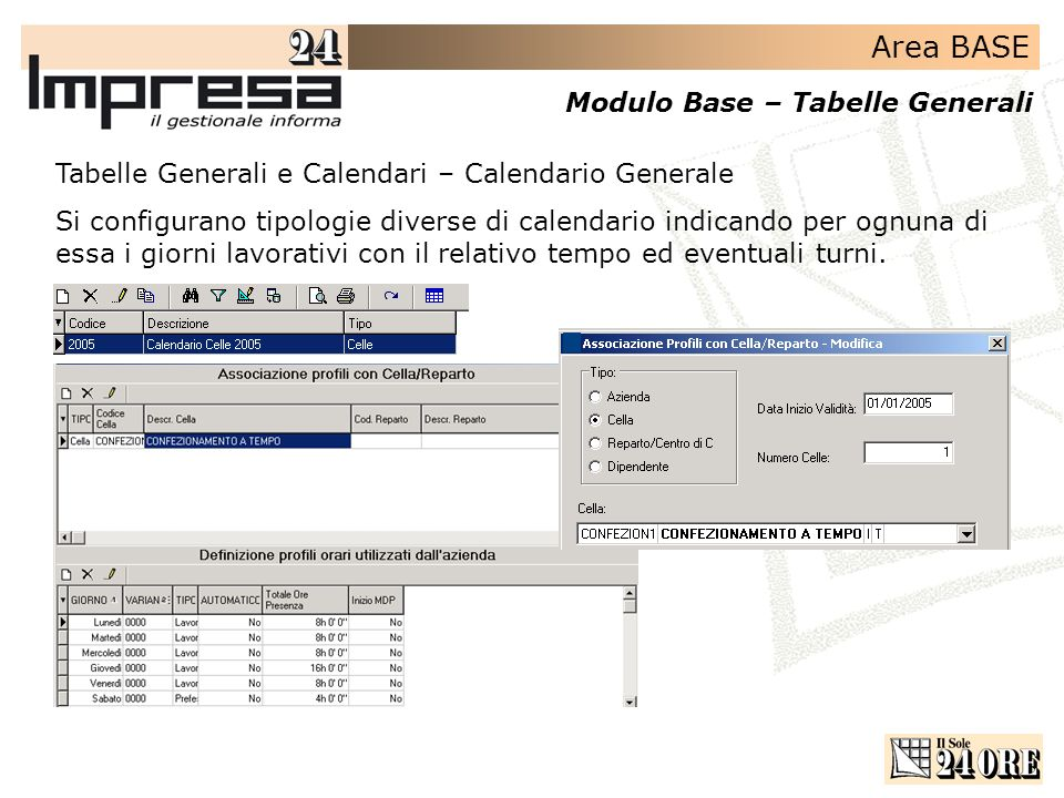 Tabelle Generali e Calendari – Calendario Generale