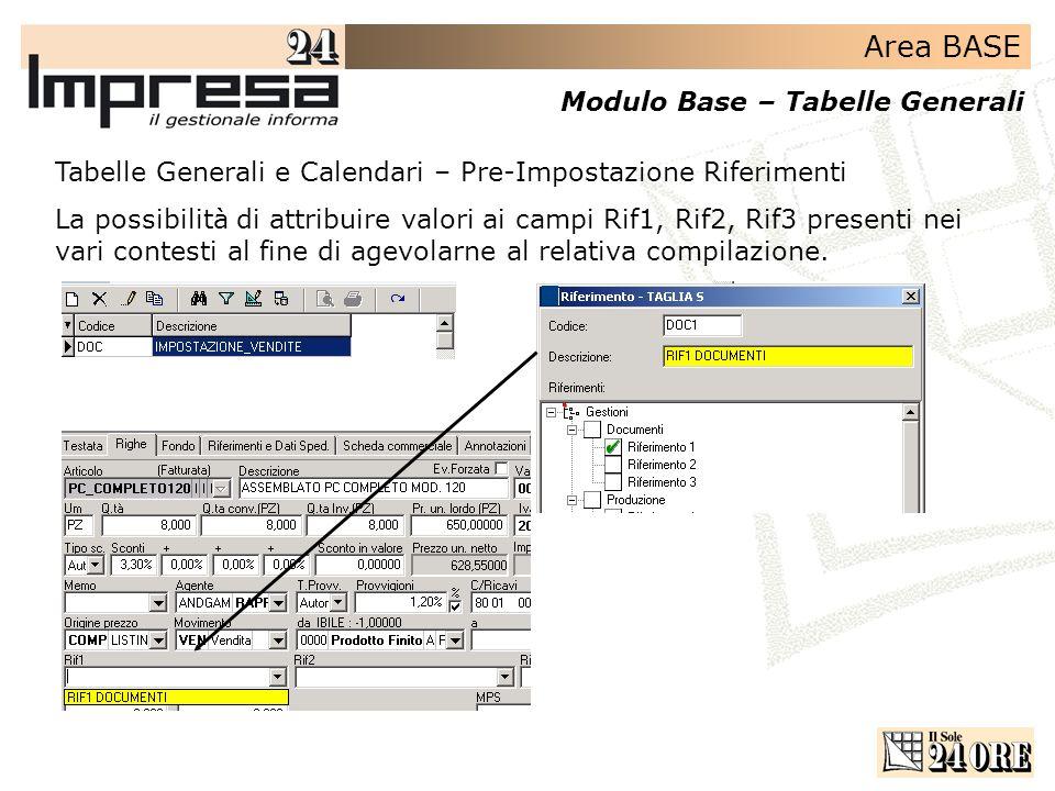 Tabelle Generali e Calendari – Pre-Impostazione Riferimenti