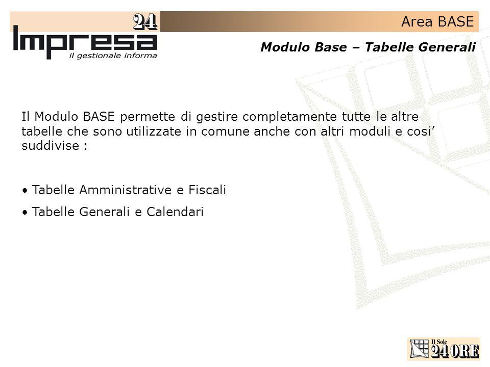 Il Modulo BASE permette di gestire completamente tutte le altre tabelle che sono utilizzate in comune anche con altri moduli e cosi' suddivise :