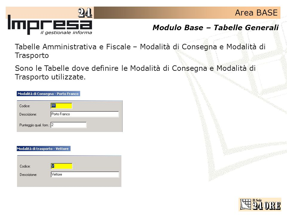 Tabelle Amministrativa e Fiscale – Modalità di Consegna e Modalità di Trasporto