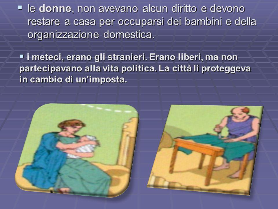 le donne, non avevano alcun diritto e devono restare a casa per occuparsi dei bambini e della organizzazione domestica.