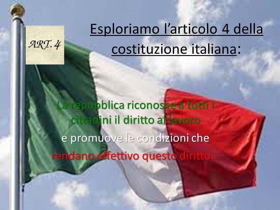Esploriamo l'articolo 4 della costituzione italiana: