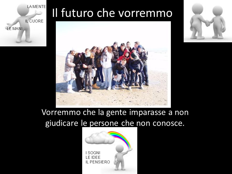 Il futuro che vorremmo LA MENTE. IL CUORE. LE MANI. LA SOCIETA' Vorremmo che la gente imparasse a non giudicare le persone che non conosce.