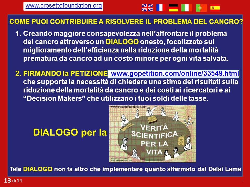 www.crosettofoundation.org Come puoi contribuire a risolvere il problema del cancro
