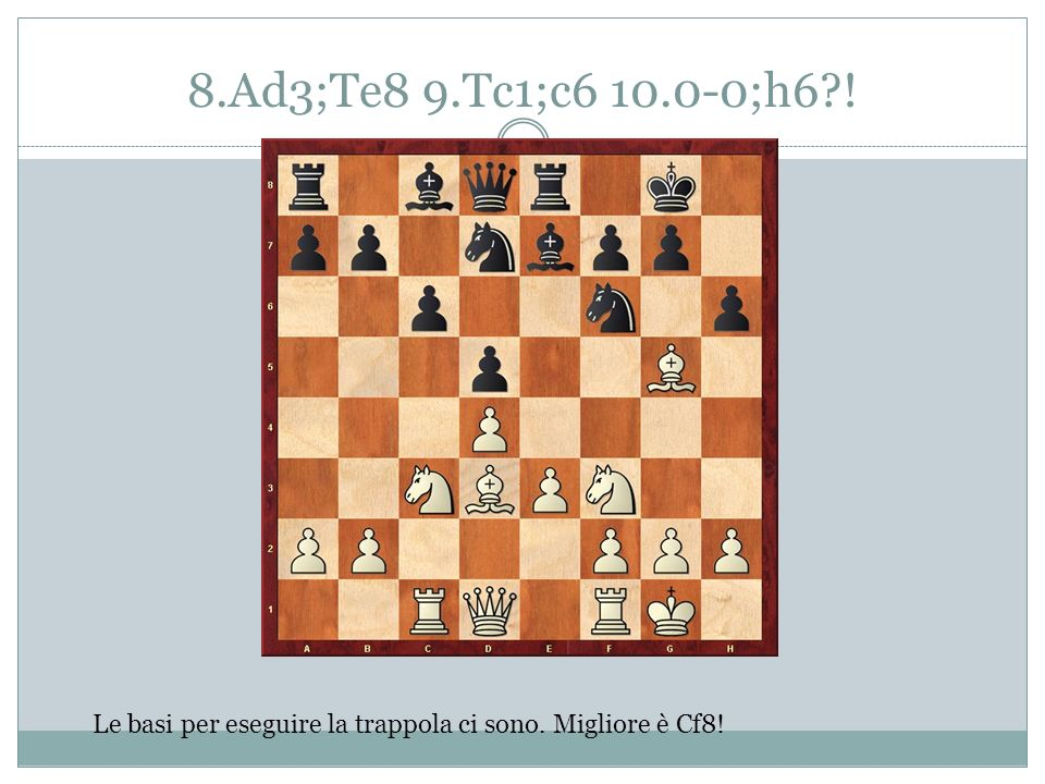 8.Ad3;Te8 9.Tc1;c6 10.0-0;h6 ! Le basi per eseguire la trappola ci sono. Migliore è Cf8!