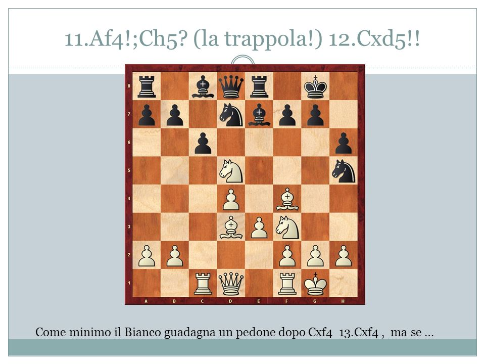 11.Af4!;Ch5 (la trappola!) 12.Cxd5!!