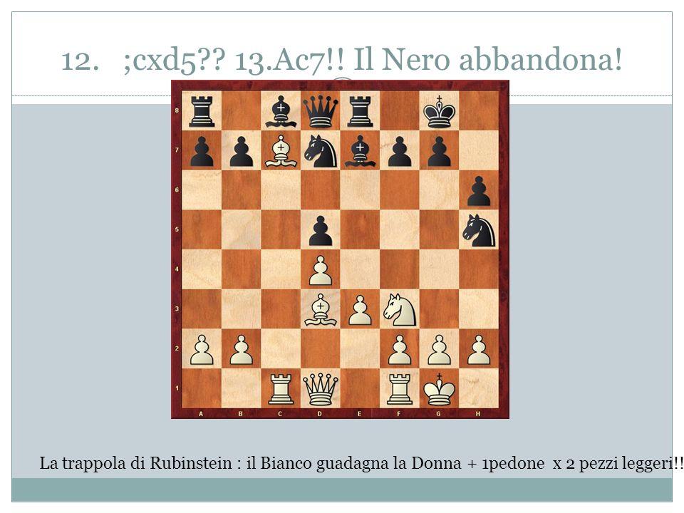 12. ;cxd5 13.Ac7!! Il Nero abbandona!
